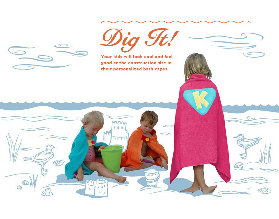 Personalized Bath Towels/Capes for Kids